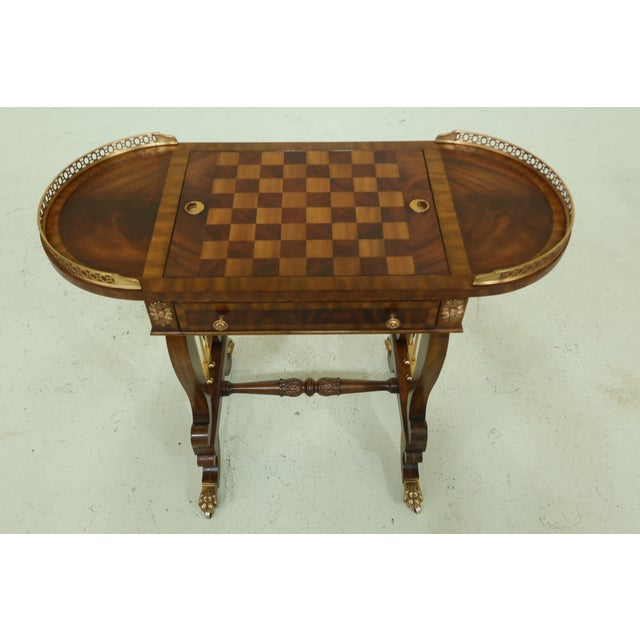 Item: 32054EC: MAITLAND SMITH Checkerboard Reversible Top Mahogany Games Table Age: Approx: 20 Years Old Details: Mahogany...