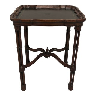 Maitland Smith Faux Bamboo Tooled Leather Accent Table For Sale