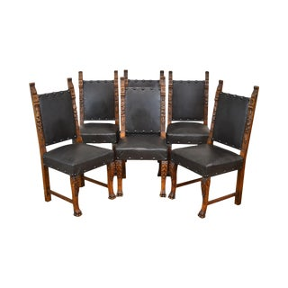 Italian Renaissance Style Antique Set 6 Carved Walnut Dining Chairs For Sale
