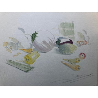 Contemporary Vegetables Still Life Watercolor For Sale