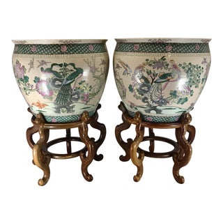 20th Century Chinese Qing Famille Verte Porcelain Jardinieres / Planters - a Pair For Sale