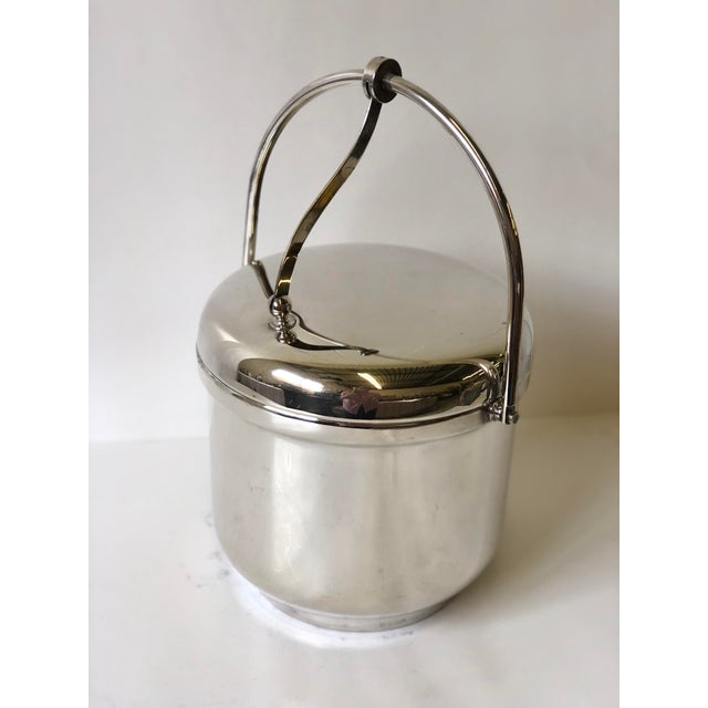 Silver Silverplated Swing Top Ice Bucket and Tongs, Reed & Barton - a Pair For Sale - Image 8 of 13