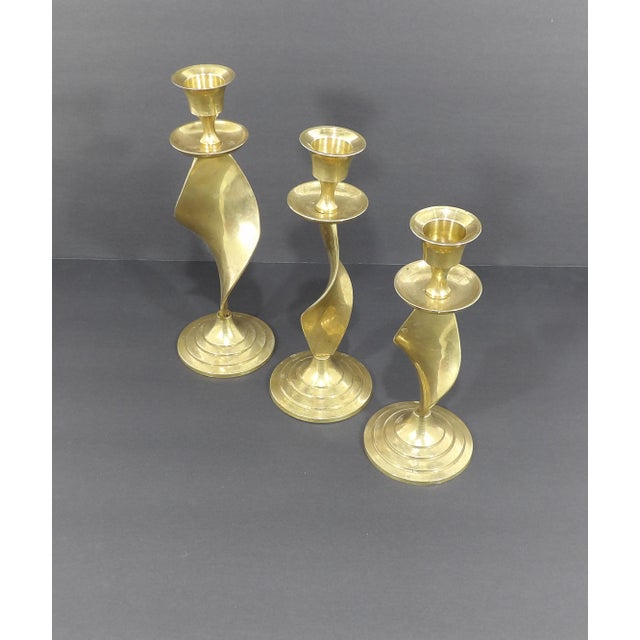 Mid Century Modern Gatco Twisted Brass Candlesticks - Set of 3 For Sale In Sacramento - Image 6 of 10