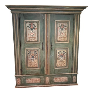 Late 19th Century French Painted Armoire For Sale
