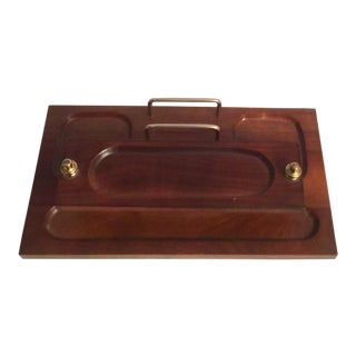Vintage Mid Century Walnut and Brass Two Tier Desk Organizer/Caddy For Sale