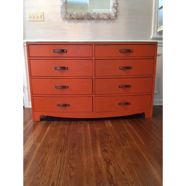 Wood 1970s Hollywood Regency Hermes Orange Leather Wrapped Dresser For Sale - Image 7 of 7