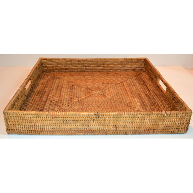 Traditional Square Wicker Woven Honey Colored Tray For Sale - Image 3 of 7