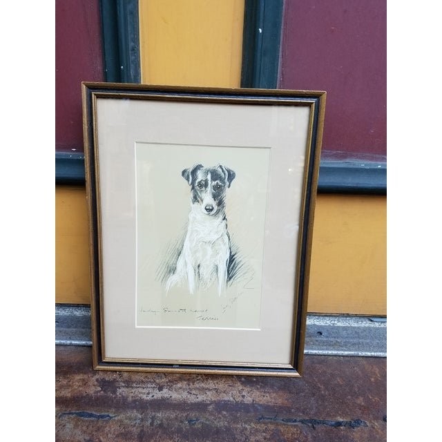 Great little drawing in a simple black and gold frame with a beige mat. Signed by Lucy Dawson.