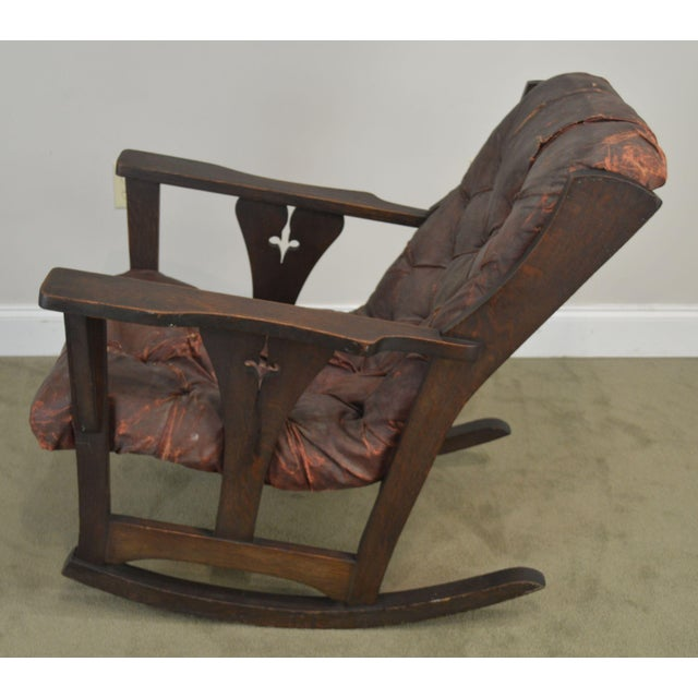 Antique Mission Arts & Crafts Period Oak Rocker With Cut Outs- Possibly Limbert For Sale In Philadelphia - Image 6 of 13