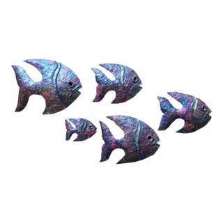 School of Brutalist Fish Wall Art Sculptures - Set of 5 For Sale