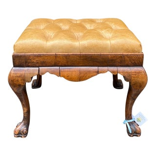 Antique 18 C Queen Anne Burl Wood Leather Tufted Bench For Sale