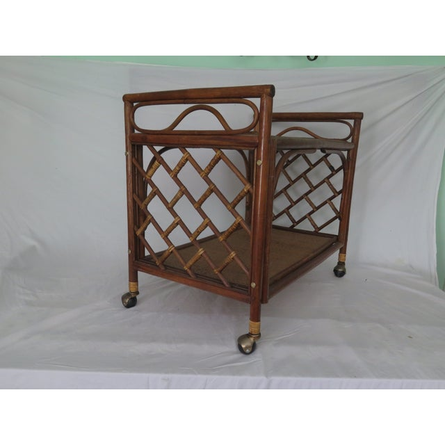 Hollywood Regency 1960's Cane Wicker & Rush Bar Cart For Sale - Image 3 of 6
