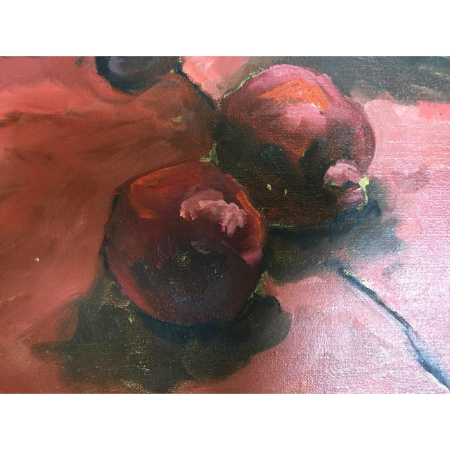 Majolica, Pomegranates & Bamboo Still Life Oil Painting - Image 5 of 7