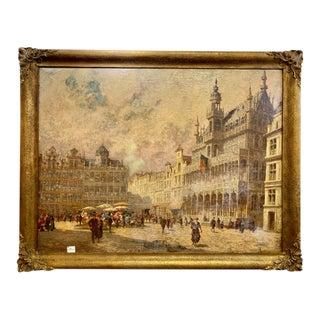 Levinsen, Sophus Theobald (1869 Kopenhagen – 1943) Der Grand Place Painting, Framed For Sale