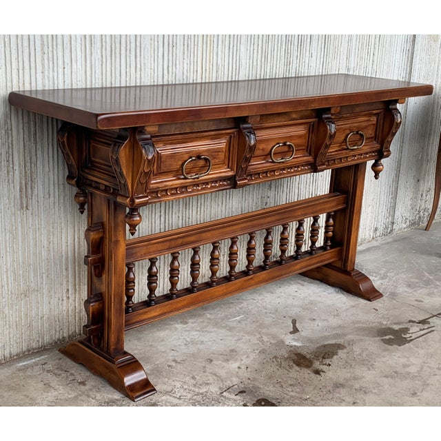 Baroque Baroque Console Table in Walnut With Three Carved Drawers and Stretcher For Sale - Image 3 of 11