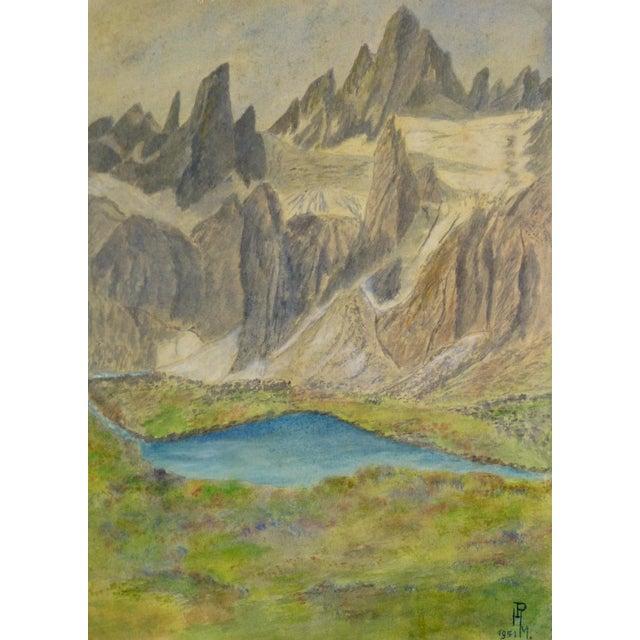 Vintage Landscape Watercolor of Jagged Peaks, 1951 - Image 1 of 3