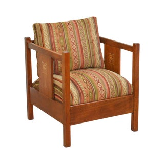 Stickley Mission Collection Harvey Ellis Inlaid Oak Cube Chair For Sale