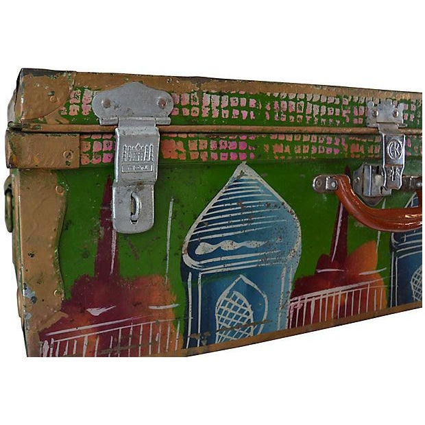 1950s Regency Indian Hand-Painted Steel Trunk For Sale - Image 4 of 10