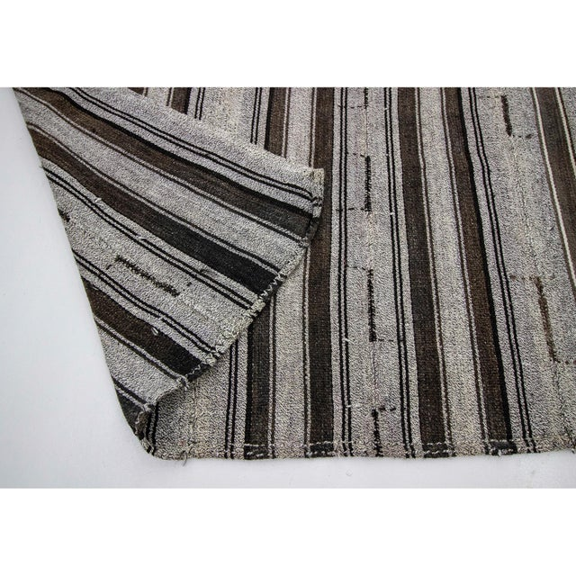 1960s 1960s Vintage Gray Striped Kilim Rug- 7′3″ × 9′8″ For Sale - Image 5 of 7