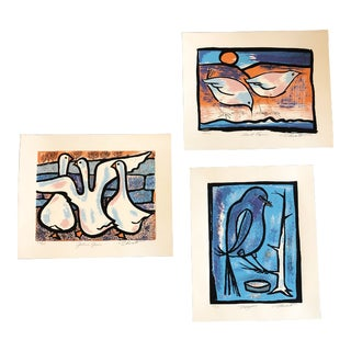 Gallery Wall Collection 3 Vintage Original Bird Woodblock Prints For Sale