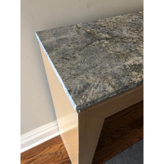 Contemporary Long & Narrow Sleek Birch and Marble Console Table For Sale - Image 4 of 13