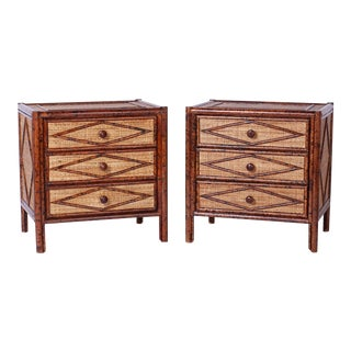 Midcentury Faux Bamboo Nightstands or Chests - A Pair For Sale