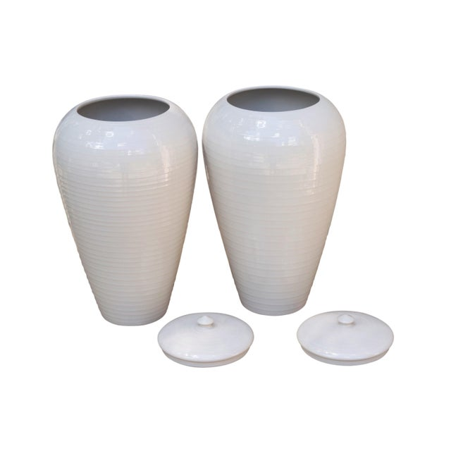 Bloomingdales Portuguese Porcelain Vases With Lids A Pair Chairish