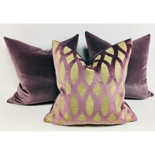 Purple Velvet Pillows – Set of 3 For Sale - Image 5 of 5