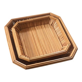 Bamboo Nesting Trays, a Pair For Sale