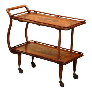Mid-20th Century French Walnut Bentwood Trolley Cart With Inlaid Brass Decor For Sale
