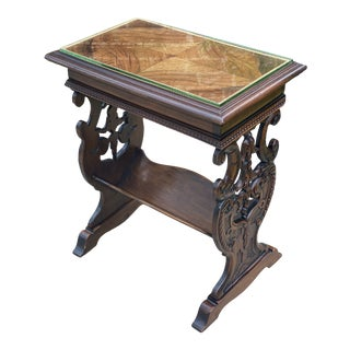 1920s Antique Mahogany French End Table For Sale