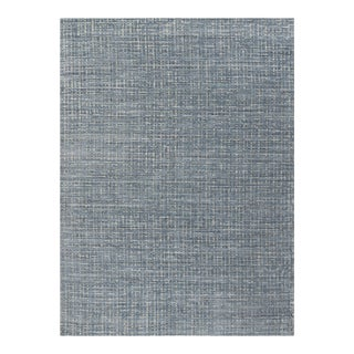 Simplicity Blue Gray Contemporary Handwoven Rug 8'11 X 12' For Sale