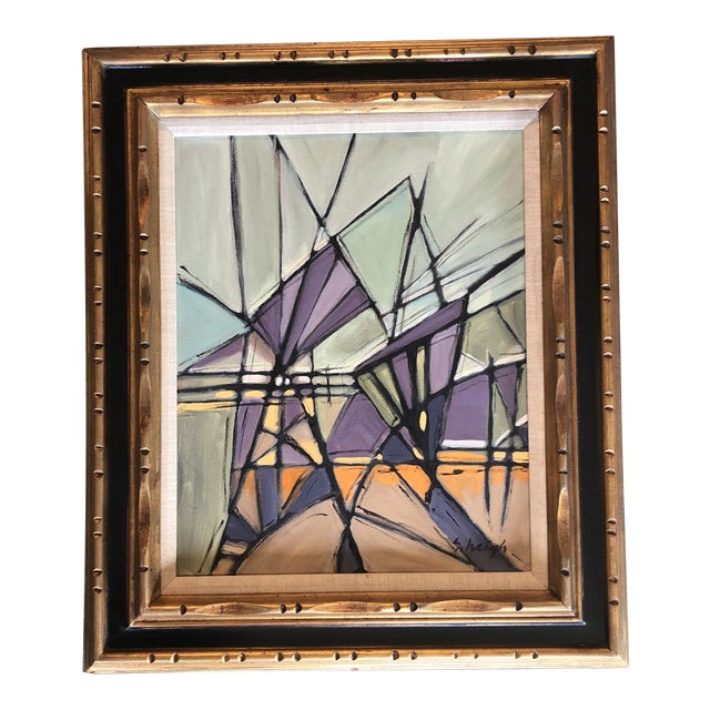 """Original Contemporary Stephen Heigh Abstract Painting """"Purple Mountain Magesty"""" For Sale"""