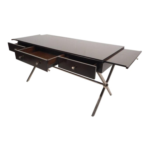 "Large Contemporary Modern Chrome ""X"" Base Desk - Image 1 of 10"