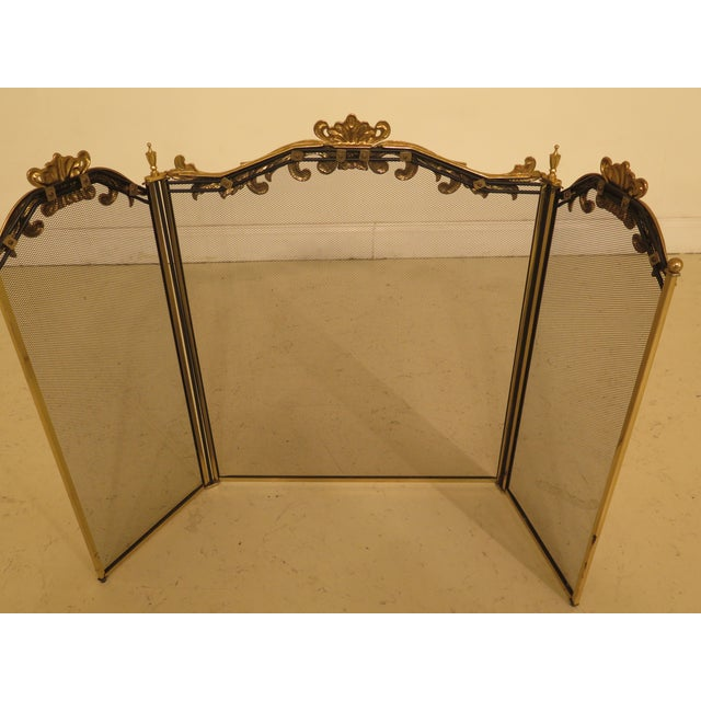 Gold French Louis XV Style Brass Folding Firescreen For Sale - Image 8 of 10
