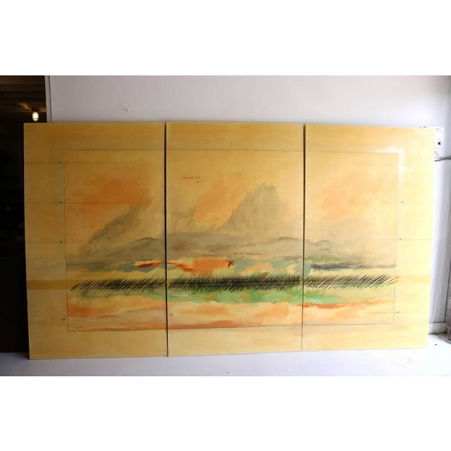 This large scale triptic is signed Savoie (Robert Savoie, Canadian, b.1939) and seems to depict a passing rain storm...