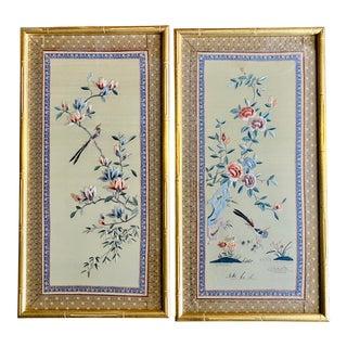 1990s Asian Flower & Bird Embroidered Silk Art- a Pair For Sale