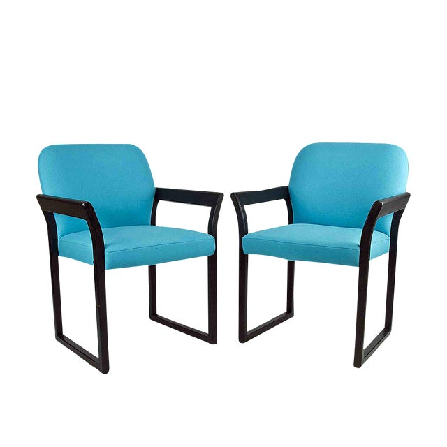 Blue Linen Mid-Century Arm Chairs - A Pair - Image 1 of 2