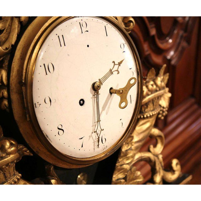 Gold 18th Century French Louis XV Carved Gilt Fruit Basket and Shell Wall Clock For Sale - Image 8 of 10