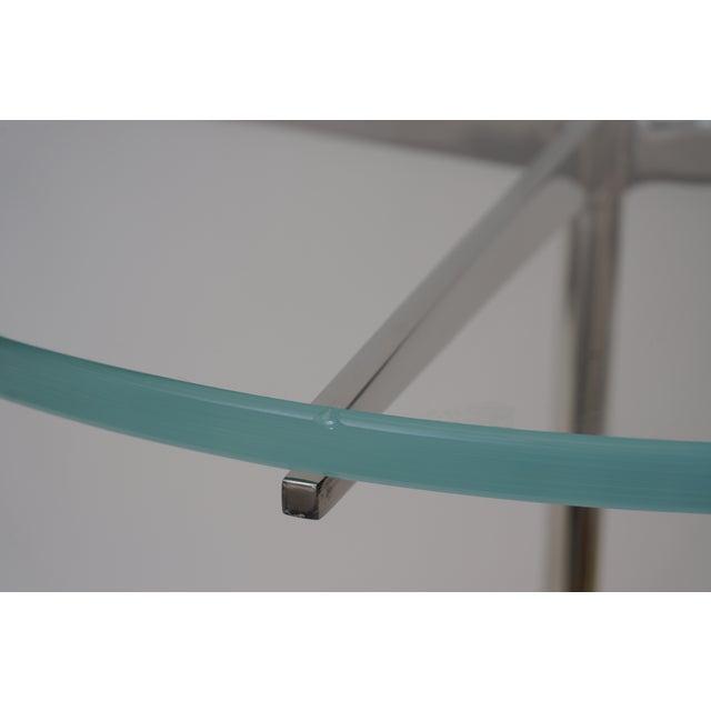 Vintage Drinks or Side Tables Glass on Polished Steel Pedestal - a Pair For Sale - Image 11 of 11