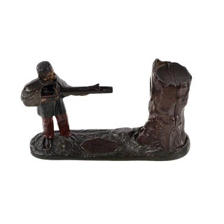 "19th Century Original ""Soldier Shooting Coin"" Cast Iron Bank For Sale"