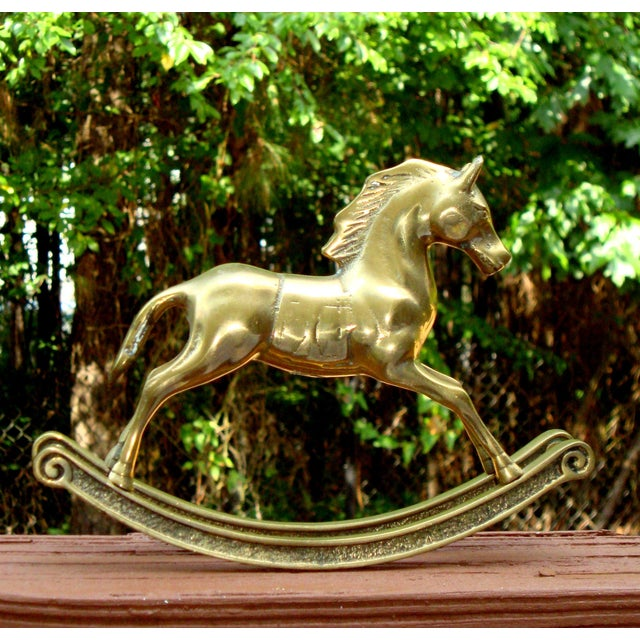 Hollywood Regency Mid-Century Brass Rocking Horse - Image 3 of 11