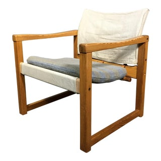 "Karin Mobring ""Diana"" Armchair, Pine & Canvas, Sweden 1970s For Sale"
