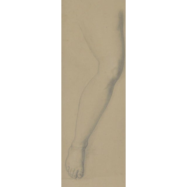 Vintage Study of a Leg and Foot Original Graphite Figure Drawing c.1960s Classic 1950s to 1960s sketch of a leg and foot...