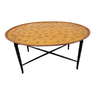 1950s Kittinger Tray Coffee Table With Thistle Incised Design and Faux Bamboo Legs For Sale