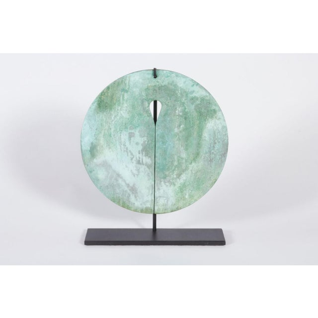 A fine bertoia deeply paninated gong from the 1960s with custom base in blacked steel. The measurement shown is for gong...