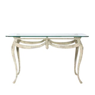 20th Century Louis XV Metal Console With Glass Top For Sale