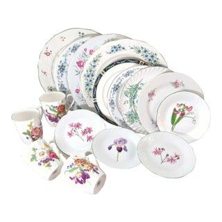 Vintage Mismatched Porcelain Dinnerware Set - Service for 4