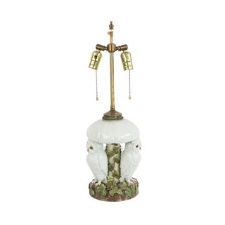 Early 20th Century English Victorian Porcelain Owl Table Lamp For Sale