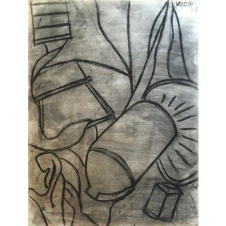 1950s Charcoal Still Life Spray Paint Signed For Sale
